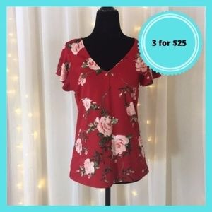 3 / $25 Red Floral Dynamite Cap Sleeve Blouse